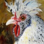 oil painting of white polish rooster